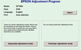 Программы Epson Adjustment Program для сброса памперсов